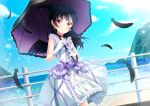 >:) bangs black_feathers black_hair black_wings bow choker day dress earrings feathered_wings feathers frilled_umbrella frills gloves highres holding holding_umbrella jewelry lolita_fashion long_hair looking_at_viewer love_live! love_live!_sunshine!! motoasako ocean outdoors purple_bow purple_choker railing side_bun smile solo tsushima_yoshiko umbrella white_gloves wings