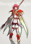 1girl armor blue_eyes breastplate cape fire_emblem fire_emblem:_akatsuki_no_megami fire_emblem:_souen_no_kiseki full_body gloves greaves grey_background grin gzei headband holding holding_spear holding_weapon looking_at_viewer marcia pauldrons pink_hair polearm simple_background smile solo spear weapon