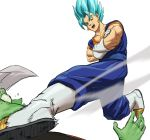 2boys absurdres blue_eyes blue_hair boots commentary crossed_arms dougi dragon_ball dragon_ball_super dragonball_z earrings english_commentary fighting_stance fused_zamasu gloves highres jewelry kicking male_focus multiple_boys open_mouth potara_earrings short_hair simple_background spiked_hair super_saiyan_blue tears vegetto white_background zamasu