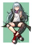 1girl ahd ahoge bangs bare_shoulders black_shorts boots brown_eyes checkered checkered_background closed_mouth commentary_request eyebrows_visible_through_hair g11_(girls_frontline) girls_frontline green_jacket hair_between_eyes head_tilt highres jacket long_hair long_sleeves looking_at_viewer off_shoulder open_clothes open_jacket red_footwear shirt short_shorts shorts silver_hair sitting sleeveless sleeveless_shirt sleeves_past_fingers sleeves_past_wrists solo very_long_hair white_shirt