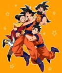 1girl 3boys :d :o ^_^ arms_around_neck black_eyes black_hair boots bracelet brothers chi-chi_(dragon_ball) chinese_clothes closed_eyes couple dougi dragon_ball dragonball_z earrings eyes_closed family father_and_son fingernails full_body hetero jewelry long_sleeves mother_and_son multiple_boys open_mouth orange_background short_hair siblings simple_background smile son_gohan son_gokuu son_goten spiked_hair star sweatdrop tied_hair wristband yunion_(sibujya)