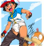 1boy briefs bulge embarrassed exposed male_focus pants_down pantsed pokemon satoshi_(pokemon) tighty_whities underwear