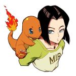1boy android_17 black_hair blue_eyes carrying charmander clothes_writing crossover dragon_ball dragon_ball_super dragonball_z expressionless fire green_shirt long_sleeves looking_back lowres male_focus pokemon pokemon_(creature) shirt short_hair simple_background st62svnexilf2p9 upper_body white_background