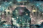 blurry depth_of_field fantasy flower gate kimikahamu lantern light_particles night original outdoors plant scenery signature star_(sky) tree vines wall
