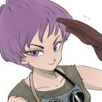 +++ 1girl brown_gloves close-up dragon_ball dragon_ball_(classic) eyelashes face gloves goggles goggles_around_neck grey_shirt happy highres looking_at_viewer purple_eyes purple_hair salute shirt short_hair simple_background sleeveless sleeveless_shirt smile solo_focus tkgsize upper_body violet_(dragon_ball) white_background