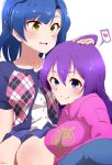 2girls absurdres ahoge blue_eyes blue_hair braid breasts breath hair_between_eyes heart highres idolmaster idolmaster_million_live! long_hair medium_breasts medium_hair mochizuki_anna moment_(moment_607) multiple_girls nanao_yuriko petting purple_hair simple_background sweat yellow_eyes