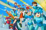 2girls 6+boys aile android ashe_(rockman) black_shorts blonde_hair blue_eyes blue_gloves blue_hair blush brown_eyes brown_hair capcom child closed_mouth flying gloves green_eyes grey_(rockman) grey_hair headband helmet hoshikawa_subaru long_hair multiple_boys multiple_girls open_mouth pointing rock_volnutt rockman rockman_(character) rockman_(classic) rockman_exe rockman_exe_(character) rockman_x rockman_zero rockman_zx roller_skates running ryuusei_no_rockman sakurai_meiru short_hair shorts skates smile teeth tentokki tongue vent white_gloves white_shorts x_(rockman) zero_(rockman)