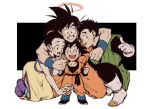1girl 3boys ^_^ black_background black_eyes black_hair boots brothers chi-chi_(dragon_ball) clenched_hands closed_eyes couple dougi dragon_ball dragonball_z earrings eyes_closed family father_and_son fingernails full_body gloves halo happy hetero hug jewelry kneeling mother_and_son multiple_boys open_mouth short_hair siblings simple_background smile son_gohan son_gokuu son_goten spiked_hair standing sweatdrop teeth thumbs_up tied_hair two-tone_background white_background wristband