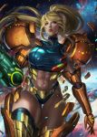 1girl abs arm_cannon blonde_hair blue_eyes blue_legwear commentary english_commentary expressionless highleg highleg_panties highres looking_to_the_side metroid mole mole_under_mouth muscle muscular_female navel panties parted_lips samus_aran sleeveless soffa solo space star_(sky) stomach thigh_gap thighhighs toned transforming_clothes underwear varia_suit weapon