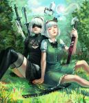 2girls blue_sky crossover day grass highres konpaku_youmu konpaku_youmu_(ghost) multiple_girls neonparrot nier_(series) nier_automata short_hair sky sword tagme touhou weapon white_hair yorha_no._2_type_b