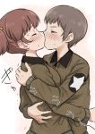 2girls alisa_(girls_und_panzer) bangs blush brown_hair brown_jacket emblem eyebrows_visible_through_hair eyes_closed freckles from_side girls_und_panzer hair_ornament hug jacket kiss long_sleeves meis_(terameisu) military military_uniform multiple_girls naomi_(girls_und_panzer) saunders_military_uniform short_hair short_twintails standing star star_hair_ornament trembling twintails uniform upper_body very_short_hair yuri