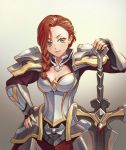 1girl aloner arena_of_valor armor artist_name astrid_(arena_of_valor) blue_eyes braid breasts cleavage fingerless_gloves gloves long_hair red_hair single_braid solo sword upper_body weapon