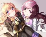2girls ahoge belt black_gloves blonde_hair blush breasts brown_hair carrying cleavage commentary fingerless_gloves gloves heart heart-shaped_pupils jewelry long_hair multicolored_hair multiple_girls necklace neo_(rwby) open_mouth pink_eyes pink_hair princess_carry purple_eyes rwby smile symbol-shaped_pupils tl two-tone_hair yang_xiao_long yuri