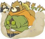 2018 anthro canine clothing eyes_closed fundoshi gyobu japanese_clothing japanese_text leaf male mammal overweight overweight_male scar tanuki text tokyo_afterschool_summoners underwear