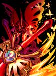 1boy black_background bug butterfly butterfly_wings highres holding holding_sword holding_weapon horns insect kirby:_star_allies kirby_(series) looking_at_viewer morpho_knight shoulder_pads simple_background solo spoilers sword thorupanda weapon wings