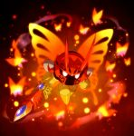 1boy black_background bug butterfly butterfly_wings commentary_request gurifon holding holding_sword holding_weapon horns insect kirby:_star_allies kirby_(series) looking_at_viewer morpho_knight shoulder_pads simple_background spoilers sword weapon white_eyes wings