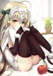 1girl ahoge apple bell black_gloves black_legwear blonde_hair capelet commentary commission elbow_gloves fate/grand_order fate_(series) food fruit fur-trimmed_capelet fur_trim gloves hair_ribbon headpiece jeanne_d'arc_(fate)_(all) jeanne_d'arc_alter_santa_lily long_hair looking_at_viewer nakatokung pillow plant potted_plant ribbon sample sitting solo striped striped_ribbon thighhighs white_capelet yellow_eyes