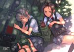 2girls anti-materiel_rifle backpack bag brown_eyes brown_hair dappled_sunlight dreadtie eyes_closed food food_theft gun haribo highres knee_pads kneehighs load_bearing_vest long_hair lying military multiple_girls necktie on_side original plaid plaid_skirt pocky rifle safety_glasses school_uniform short_hair signature silver_hair skirt sleeping sniper_rifle sunlight thigh_pouch thigh_strap tongue tongue_out tree weapon