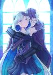 1boy 1girl armor armored_dress armpits black_gloves black_skirt blue_background blue_eyes brynhildr_(fate) cape couple fate/grand_order fate_(series) glasses gloves hetero highres hug hug_from_behind long_hair looking_at_viewer multicolored_hair purple_cape purple_eyes purple_gloves purple_hair sigurd_(fate/grand_order) skirt two-tone_hair upper_body white_hair yumeha_tseru