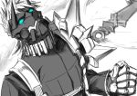 1boy blue_eyes dagger fate/grand_order fate_(series) male_focus mask monochrome sakazuki_sudama sigurd_(fate/grand_order) solo spikes spot_color upper_body weapon