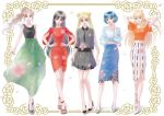 5girls aino_minako bangs bishoujo_senshi_sailor_moon black_dress black_footwear black_hair black_shirt blonde_hair blue_shirt blue_skirt border bow brown_hair closed_mouth collared_dress contrapposto double_bun dress earrings finger_to_mouth flower full_body gown green_skirt grin hair_bow hands_on_hips high_heels hino_rei hoop_earrings jewelry karafuru_tako kino_makoto lineup lipstick long_hair long_skirt long_sleeves looking_at_viewer makeup midriff mizuno_ami multiple_girls orange_bow orange_footwear orange_shirt parted_bangs parted_lips pleated_dress ponytail red_dress red_earrings red_lipstick sandals shirt shoes short_dress short_hair short_sleeves side_slit skirt smile standing tsukino_usagi twintails very_long_hair white_footwear wind yellow_eyes