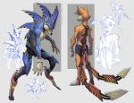 2017 alternate_universe anthro barcode blue_fur canine claws clothed clothing concept_art cybernetics cyborg fox fur green_eyes grimdark hedgehog looking_at_viewer loupgarou machine male mammal miles_prower multi_tail nude orange_fur shorts simple_background sonic_(series) sonic_the_hedgehog topless