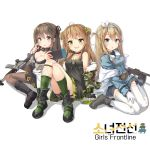 3girls :d :o ahoge assault_rifle asymmetrical_legwear bangs bare_shoulders belt black_dress black_footwear black_gloves blonde_hair blue_coat blue_eyes blush boots bow breasts brown_eyes brown_hair buckle camouflage_jacket choker cleavage coat collarbone collared_coat copyright_name cross-laced_footwear daewoo_k2 dog_tags double_bun dress drum_magazine eyebrows_visible_through_hair fingerless_gloves fishnet_legwear fishnets frown fur-trimmed_jacket fur_trim girl_sandwich girls_frontline gloves green_eyes green_legwear grey_footwear gun hair_between_eyes hair_bow hair_ornament hairband hairclip handheld_game_console highres holding_handheld_game_console horizontal-striped_legwear jacket k-2_(girls_frontline) knee_boots knees_up lace-up_boots large_breasts long_hair looking_at_viewer medium_breasts military military_uniform multiple_girls navel off_shoulder ohshit open_mouth panties pantyhose rfb_(girls_frontline) rifle sandwiched scratching_cheek shirt short_dress sidelocks simple_background sitting skirt smile snowflake_hair_ornament striped striped_legwear submachine_gun suomi_kp/-31 suomi_kp31_(girls_frontline) thigh_strap thighhighs thighs underwear uniform vertical-striped_legwear vertical_stripes wariza weapon white_background white_legwear