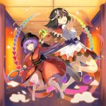 2girls :d :p barefoot black_hair black_hat blue_sash bowl bowl_hat bracelet breasts brown_footwear commentary_request directional_arrow dress eyebrows_visible_through_hair hair_between_eyes hat highres holding holding_mallet holding_needle horns indoors japanese_clothes jewelry kijin_seija kimono long_sleeves looking_at_viewer medium_breasts medium_hair miracle_mallet multicolored_hair multiple_girls needle obi open_mouth outstretched_arm petticoat puffy_short_sleeves puffy_sleeves purple_hair reaching_out red_eyes red_hair red_kimono rin_falcon sailor_collar sandals sash short_hair short_sleeves smile smoke streaked_hair sukuna_shinmyoumaru taut_clothes taut_dress thighs tongue tongue_out touhou white_dress white_hair wide_sleeves