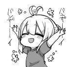 1girl :d \o/ ^_^ afterimage ahoge ahoge_wag arms_up bangs blush braid closed_eyes commentary_request copyright_request expressive_hair eyebrows_visible_through_hair eyes_closed facing_viewer greyscale hair_between_eyes hair_bun highres jako_(jakoo21) monochrome open_mouth outstretched_arms shirt short_sleeves sidelocks simple_background smile solo translation_request white_background