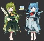 2girls :3 absurdres alternate_costume ascot bangs barefoot blue_eyes blue_hair blush bow bowtie character_name cirno collared_dress commentary daiyousei dot_nose dress dress_lift eyebrows_visible_through_hair fairy_wings flower full_body green_dress green_eyes green_hair grey_background hair_between_eyes hair_bow hair_ribbon highres ice ice_wings leaf light_smile lily_of_the_valley long_sleeves multiple_girls orange_neckwear pointy_ears red_neckwear ribbon sash simple_background slit_pupils star tassel tiptoes touhou useq1067 visible_ears wide_sleeves wings