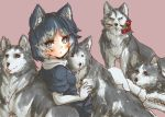 1girl animal_ears black_hair blue_eyes commentary_request dog_ears dog_tail elbow_gloves eyebrows_visible_through_hair flower fur_trim gloves grey_hair husky kemono_friends multicolored_hair pleated_skirt scarf short_sleeves siberian_husky_(kemono_friends) skirt tail tikano white_hair