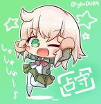 1girl ;d asimo953 bangs big_head black_footwear blonde_hair blush character_name chibi commentary_request eyebrows_visible_through_hair eyes_visible_through_hair full_body fur-trimmed_sleeves fur_trim green_background green_eyes green_jacket green_sailor_collar green_skirt hands_up highres jacket kantai_collection leg_lift long_sleeves looking_at_viewer miniskirt no_nose one_eye_closed open_clothes open_jacket open_mouth outline pantyhose partially_translated pleated_skirt raised_eyebrows sailor_collar school_uniform serafuku shading_eyes shimushu_(kantai_collection) shirt short_hair simple_background sketch_eyebrows skirt smile solo standing standing_on_one_leg star tareme translation_request twitter_username white_legwear white_outline white_shirt