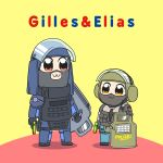 2boys :3 armor balaclava bulletproof_vest elias_kotz english_text german german_flag gilles_toure gun handgun height_difference highres holding holding_gun holding_weapon multiple_boys pipimi pistol poptepipic popuko rainbow_six rainbow_six_siege riot_shield shadow swat title_parody tom_clancy ubisoft visor_(armor) weapon what ymltzj_(byt)
