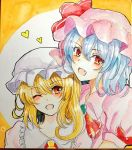 2girls :d ascot blonde_hair blue_hair blush dress eyebrows_visible_through_hair fang flandre_scarlet hair_between_eyes hat hat_ornament heart looking_at_viewer mob_cap multiple_girls one_eye_closed open_mouth photo pink_dress pink_hat puffy_short_sleeves puffy_sleeves red_eyes red_neckwear remilia_scarlet short_sleeves siblings sisters smile tanaji touhou traditional_media white_hat yellow_background yellow_neckwear