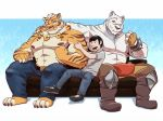 2018 abs anthro biceps clothed clothing digital_media_(artwork) eclipsewolf feline fur grimoire_of_zero hair hi_res human lin_hu male mammal mercenary_(character) muscular muscular_male nekojishi nipples pecs stripes tiger topless white_fur white_tiger