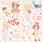 4girls argyle argyle_background arm_up backpack bag bare_shoulders beanie beast_ball bell black_hair blonde_hair blue_eyes blush blush_stickers book bracelet braid brown_hair candy cd clefairy collarbone cosmog crystal doll dress dual_persona duffel_bag eyebrows_visible_through_hair eyes_closed female floral_print flower flute food french_braid full_body gen_4_pokemon gen_7_pokemon green_eyes green_shorts hand_up happy hat hat_flower heart highres holding holding_poke_ball instrument jewelry jingle_bell kneehighs leg_up lillie_(pokemon) long_hair looking_at_viewer looking_down malasada mizuki_(pokemon) mizuki_(pokemon_usum) multiple_girls necklace one_eye_closed open_book open_mouth orange_shirt outstretched_arms pencil pink_background pink_flower pleated_skirt poke_ball poke_ball_(generic) poke_ball_theme pokemon pokemon_(creature) pokemon_(game) pokemon_sm pokemon_usum ponytail pouch pyukumuku red_footwear red_hat rotom rotom_dex see-through shiny shiny_hair shirt shoes short_hair short_shorts short_sleeves shorts simple_background skirt sleeveless sleeveless_dress sleeveless_shirt smile spaghetti_strap sparkle standing standing_on_one_leg sun_hat tied_shirt twin_braids white_dress white_footwear white_hat white_legwear white_shirt white_shorts white_skirt wink yellow_shirt zuizi
