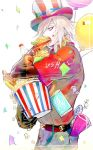1boy american_flag_hat balloon belt candy confetti denim doughnut earrings fate/apocrypha fate/grand_order fate_(series) food food_in_mouth food_on_face french_fries half-closed_eyes hamburger hat jeans jewelry karna_(fate) lollipop male_focus pants popcorn red_shirt shirt simple_background soda top_hat tori_shiru white_background white_hair white_skin