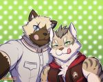 2017 anthro blue_eyes brown_fur cat clothed clothing dotted_background duo eye_scar feline front_view fully_clothed fur green_background green_eyes leopard_cat looking_at_viewer male mammal nekojishi one_eye_closed pattern_background primodrago scar selfie shu-chi simple_background standing tongue tongue_out
