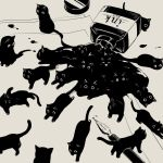 animal avogado6 black_cat bottle cat fountain_pen greyscale ink ink_bottle monochrome no_humans original paper pen spill