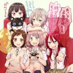 5girls :3 :d :o afterglow_(bang_dream!) aoba_moka bang_dream! bangs black_hair blue_eyes bob_cut brown_eyes brown_hair clenched_hand collared_shirt commentary_request controller couch doll doll_hug game_controller green_eyes green_neckwear green_skirt grey_hair hair_between_eyes hand_on_another's_shoulder hand_on_another's_shoulder haneoka_school_uniform hazawa_tsugumi holding holding_doll index_finger_raised leaning_on_person long_hair low_twintails miniskirt mitake_ran muchise multicolored_hair multiple_girls necktie open_mouth outstretched_hand pink_hair plaid plaid_skirt playing_games pleated_skirt purple_eyes red_hair round_teeth school_uniform shirt short_hair short_sleeves short_twintails sitting skirt sleeves_rolled_up smile streaked_hair striped striped_neckwear sweatdrop sweater_vest teeth translation_request twintails udagawa_tomoe uehara_himari upper_teeth white_shirt
