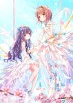 2girls animal back_bow bangs bird blue_bow blue_footwear blurry blurry_foreground blush bow brown_eyes brown_hair card_captor_sakura castle closed_mouth commentary_request crown daidouji_tomoyo depth_of_field dress eyebrows_visible_through_hair feathered_wings finger_to_mouth flower gloves hair_between_eyes hair_bow high_heels highres kinomoto_sakura long_hair mary_janes mini_crown multiple_girls peas_(peas0125) petals pink_flower purple_eyes purple_hair shoes sleeveless sleeveless_dress smile striped striped_bow tower transparent transparent_wings tree_branch very_long_hair white_dress white_footwear white_gloves white_wings wings