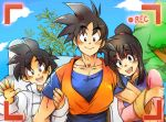 1girl 2boys :d ayo_(isy8800) bangs black_eyes black_hair blush chi-chi_(dragon_ball) chinese_clothes couple day dougi dragon_ball dragonball_z eyebrows_visible_through_hair family father_and_son fingernails happy hetero house locked_arms looking_at_viewer lowres mother_and_son multiple_boys open_mouth outdoors plant pov recording shirt short_hair smile son_gohan son_gokuu spiked_hair tied_hair tree upper_body waving white_shirt