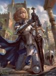 1girl armor armored_boots blonde_hair blue_eyes boots cape cloud copyright_name fantasy gloves headwear_removed helmet helmet_removed hong_yu_cheng legend_of_the_cryptids long_hair official_art open_mouth sky solo sword teeth tree weapon