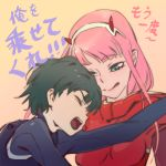 1boy 1girl bangs black_bodysuit black_hair bodysuit breasts comic commentary couple darling_in_the_franxx english_commentary eyebrows_visible_through_hair eyes_closed green_eyes hair_ornament hairband hetero highres hiro_(darling_in_the_franxx) horns industry_age lipstick long_hair looking_at_another makeup medium_breasts oni_horns pilot_suit pink_hair red_bodysuit red_horns short_hair tongue tongue_out translation_request white_hairband zero_two_(darling_in_the_franxx)