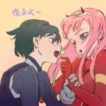 1boy 1girl bangs black_bodysuit black_hair bodysuit breasts candy comic commentary couple darling_in_the_franxx english_commentary food gloves hair_ornament hairband hetero highres hiro_(darling_in_the_franxx) holding_another's_arm holding_lollipop horns industry_age lollipop long_hair looking_at_another medium_breasts oni_horns pilot_suit pink_hair red_bodysuit red_gloves red_horns saliva saliva_trail short_hair translation_request white_gloves white_hairband zero_two_(darling_in_the_franxx)