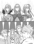 ! 2koma 3girls 4boys bangs bikini bodysuit breasts cape comic commentary_request cu_chulainn_(fate/grand_order) cu_chulainn_(fate/prototype) cu_chulainn_alter_(fate/grand_order) dress eyebrows_visible_through_hair fate/grand_order fate/prototype fate/stay_night fate_(series) flower fur_trim greyscale hair_between_eyes hair_flower hair_ornament headpiece holding holding_weapon hood kkao_0 lancer long_hair monochrome multiple_boys multiple_girls open_mouth ponytail scathach_(fate)_(all) scathach_(fate/grand_order) scathach_(swimsuit_assassin)_(fate) scathach_skadi_(fate/grand_order) shocked_eyes short_hair shoulder_pads silent_comic smile sparkle sweatdrop swimsuit tattoo tiara wand weapon