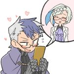 1boy 1girl alternate_costume alternate_hairstyle blue_hair brynhildr_(fate) cape fate/grand_order fate/prototype fate/prototype:_fragments_of_blue_and_silver fate_(series) glasses heart multicolored_hair nu_tarou sigurd_(fate/grand_order) simple_background smile two-tone_hair waving white_background