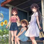 3girls :d bangs bench black_hair blue_skirt brown_hair brown_hat bus_stop cloud collarbone commentary_request cropped denim denim_skirt dress flower fukahire_(ruinon) half_updo hands_on_own_knees hat holding long_legs looking_at_viewer low_twintails multiple_girls off-shoulder_shirt open_mouth original pocketbook purple_dress shirt short_hair short_sleeves sitting skirt sky smile standing sundress sunflower twintails white_dress
