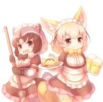 2girls :d alcohol alternate_costume animal_ears apron beer beer_mug black_hair black_neckwear blonde_hair blush bow bowtie broom brown_eyes chopsticks common_raccoon_(kemono_friends) cowboy_shot cup extra_ears eyebrows_visible_through_hair fang fennec_(kemono_friends) food fox_ears fox_tail fur_collar fur_trim grey_hair hair_ribbon holding holding_broom holding_cup holding_plate kemono_friends kemono_friends_festival lace lace-trimmed_thighhighs looking_at_viewer maid maid_apron maid_headdress matsuu_(akiomoi) mini_flag multicolored_hair multiple_girls omurice open_mouth plate raccoon_ears raccoon_tail ribbon short_sleeves simple_background smile tail thighhighs white_background yellow_legwear yellow_neckwear zettai_ryouiki