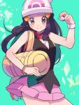 1girl beanie black_tank_top blue_hair blush cowboy_shot grey_eyes hat highres hikari_(pokemon) holding holding_poke_ball poke_ball pokemon pokemon_(game) pokemon_dppt red_scarf ririmon scarf smile solo winter_clothes yellow_bag
